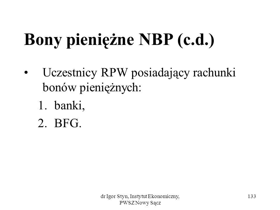 dr Igor Styn, Instytut Ekonomiczny, PWSZ Nowy Sącz 133 Bony pieniężne NBP (c.d.) Uczestnicy RPW posiadający rachunki bonów pieniężnych: 1.banki, 2.BFG