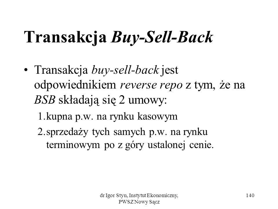 dr Igor Styn, Instytut Ekonomiczny, PWSZ Nowy Sącz 140 Transakcja Buy-Sell-Back Transakcja buy-sell-back jest odpowiednikiem reverse repo z tym, że na
