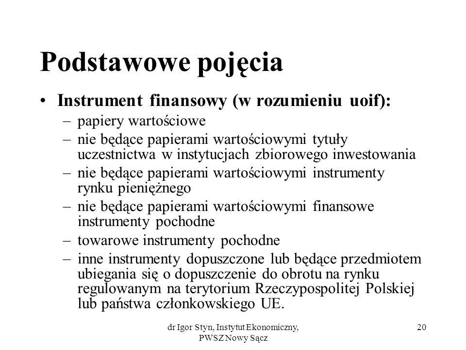 dr Igor Styn, Instytut Ekonomiczny, PWSZ Nowy Sącz 20 Podstawowe pojęcia Instrument finansowy (w rozumieniu uoif): –papiery wartościowe –nie będące pa