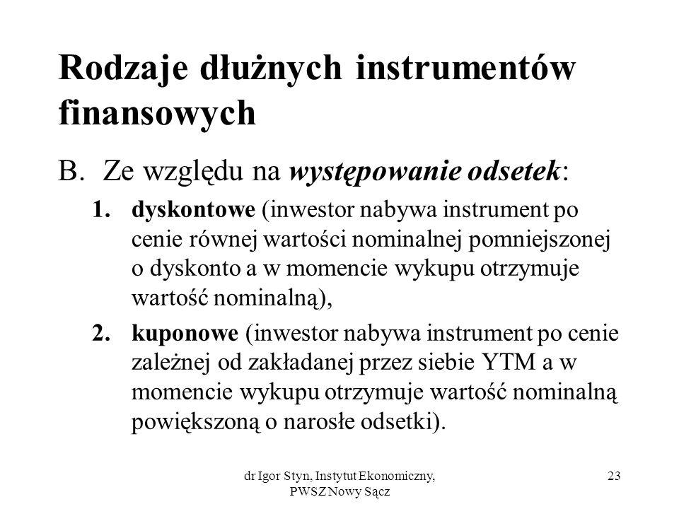 dr Igor Styn, Instytut Ekonomiczny, PWSZ Nowy Sącz 23 Rodzaje dłużnych instrumentów finansowych B.Ze względu na występowanie odsetek: 1.dyskontowe (in