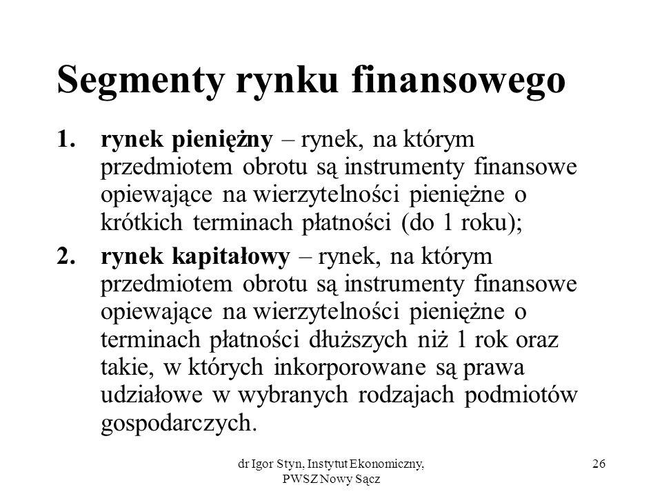 dr Igor Styn, Instytut Ekonomiczny, PWSZ Nowy Sącz 26 Segmenty rynku finansowego 1.rynek pieniężny – rynek, na którym przedmiotem obrotu są instrument