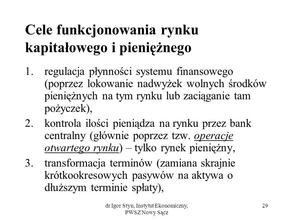 dr Igor Styn, Instytut Ekonomiczny, PWSZ Nowy Sącz 29 Cele funkcjonowania rynku kapitałowego i pieniężnego 1.regulacja płynności systemu finansowego (