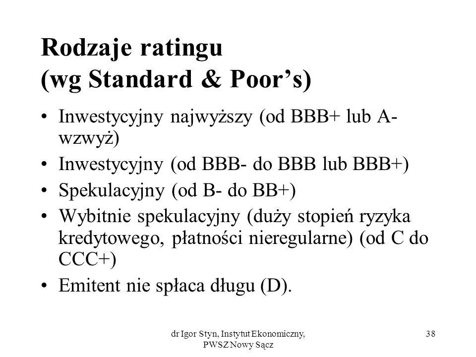 dr Igor Styn, Instytut Ekonomiczny, PWSZ Nowy Sącz 38 Rodzaje ratingu (wg Standard & Poors) Inwestycyjny najwyższy (od BBB+ lub A- wzwyż) Inwestycyjny