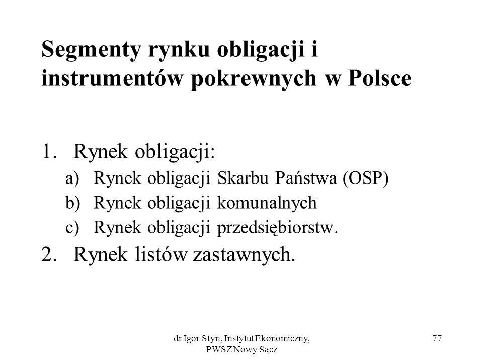 dr Igor Styn, Instytut Ekonomiczny, PWSZ Nowy Sącz 77 Segmenty rynku obligacji i instrumentów pokrewnych w Polsce 1.Rynek obligacji: a)Rynek obligacji