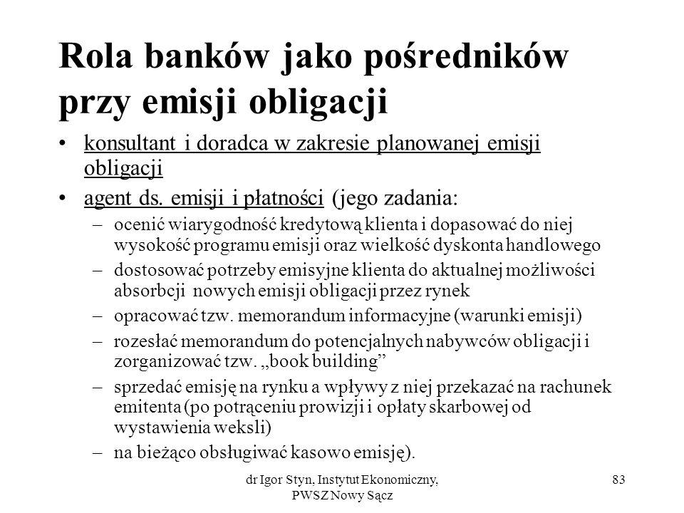 dr Igor Styn, Instytut Ekonomiczny, PWSZ Nowy Sącz 83 Rola banków jako pośredników przy emisji obligacji konsultant i doradca w zakresie planowanej em