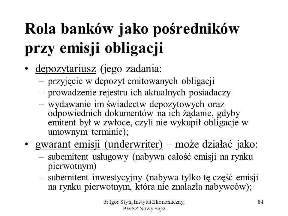 dr Igor Styn, Instytut Ekonomiczny, PWSZ Nowy Sącz 84 Rola banków jako pośredników przy emisji obligacji depozytariusz (jego zadania: –przyjęcie w dep
