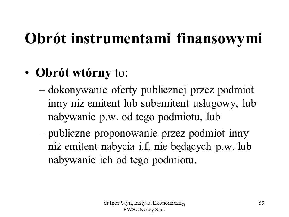 dr Igor Styn, Instytut Ekonomiczny, PWSZ Nowy Sącz 89 Obrót instrumentami finansowymi Obrót wtórny to: –dokonywanie oferty publicznej przez podmiot in