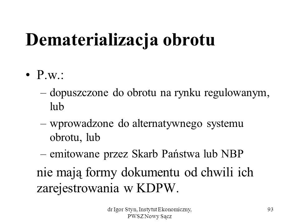 dr Igor Styn, Instytut Ekonomiczny, PWSZ Nowy Sącz 93 Dematerializacja obrotu P.w.: –dopuszczone do obrotu na rynku regulowanym, lub –wprowadzone do a