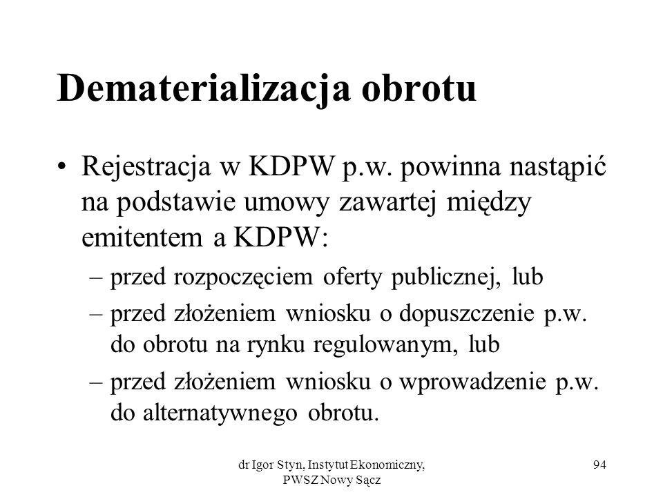 dr Igor Styn, Instytut Ekonomiczny, PWSZ Nowy Sącz 94 Dematerializacja obrotu Rejestracja w KDPW p.w. powinna nastąpić na podstawie umowy zawartej mię