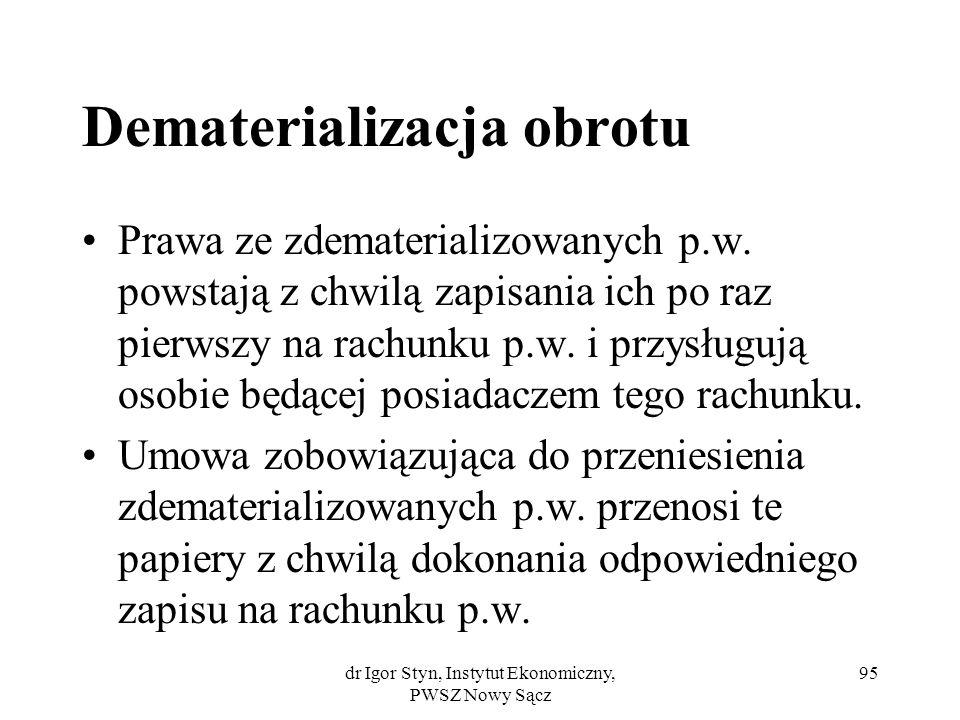 dr Igor Styn, Instytut Ekonomiczny, PWSZ Nowy Sącz 95 Dematerializacja obrotu Prawa ze zdematerializowanych p.w. powstają z chwilą zapisania ich po ra