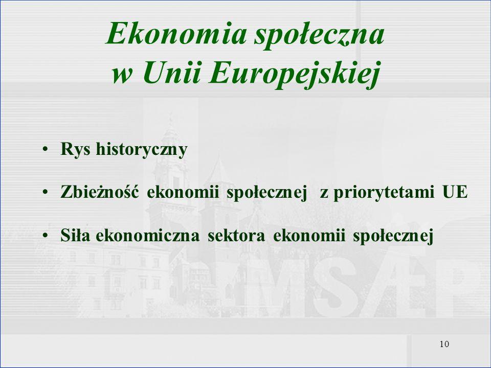 10 Rys historyczny Zbieżność ekonomii społecznej z priorytetami UE Siła ekonomiczna sektora ekonomii społecznej Ekonomia społeczna w Unii Europejskiej