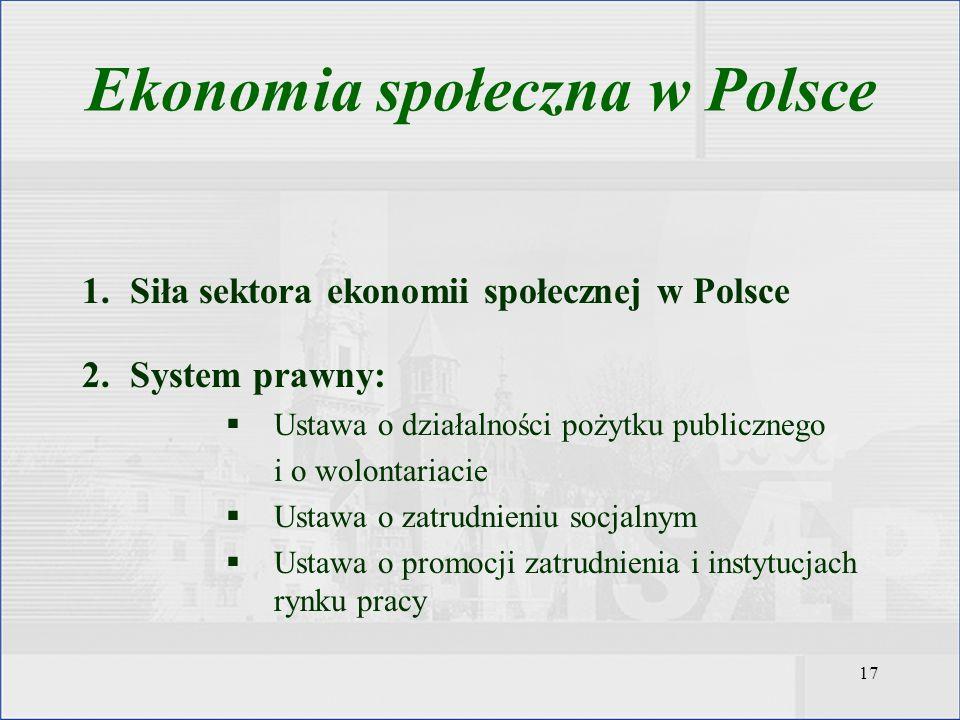 17 1.Siła sektora ekonomii społecznej w Polsce 2.System prawny: Ustawa o działalności pożytku publicznego i o wolontariacie Ustawa o zatrudnieniu socj