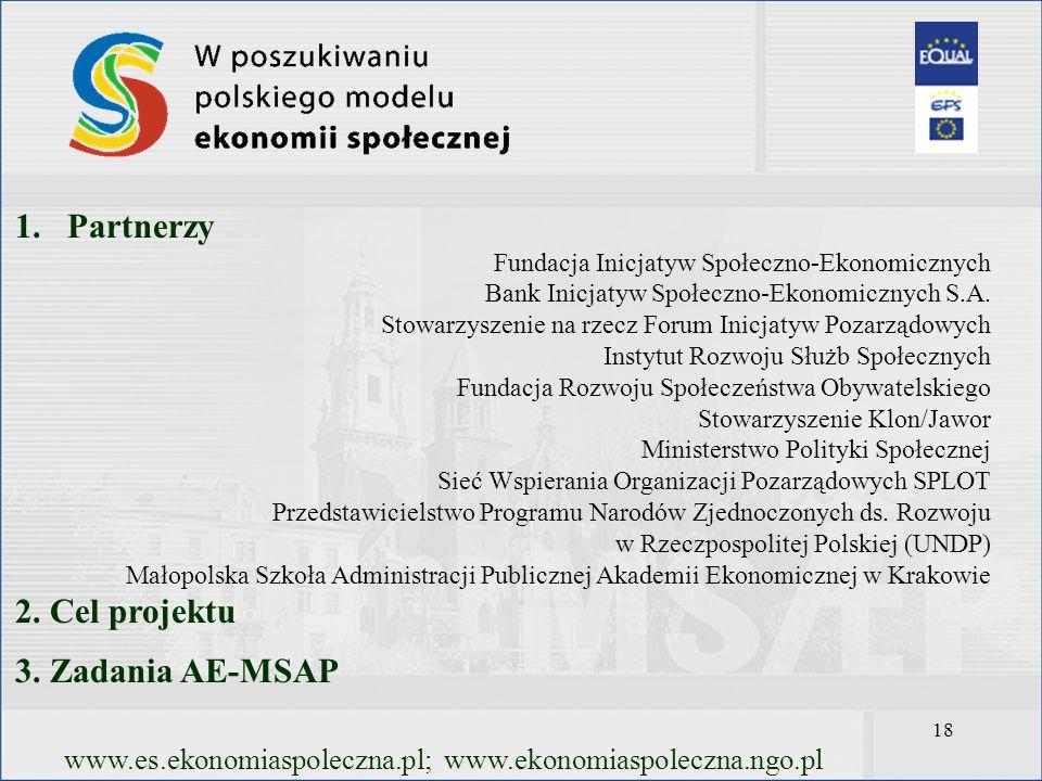 18 www.es.ekonomiaspoleczna.pl; www.ekonomiaspoleczna.ngo.pl 1.Partnerzy Fundacja Inicjatyw Społeczno-Ekonomicznych Bank Inicjatyw Społeczno-Ekonomicz