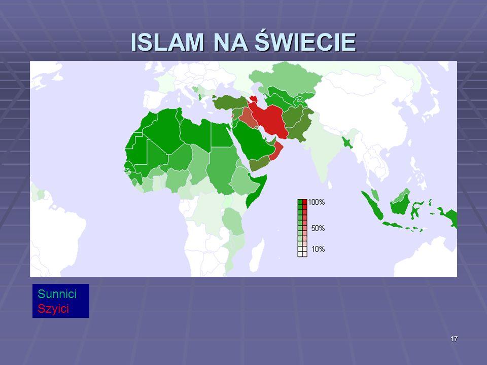 17 ISLAM NA ŚWIECIE Sunnici Szyici