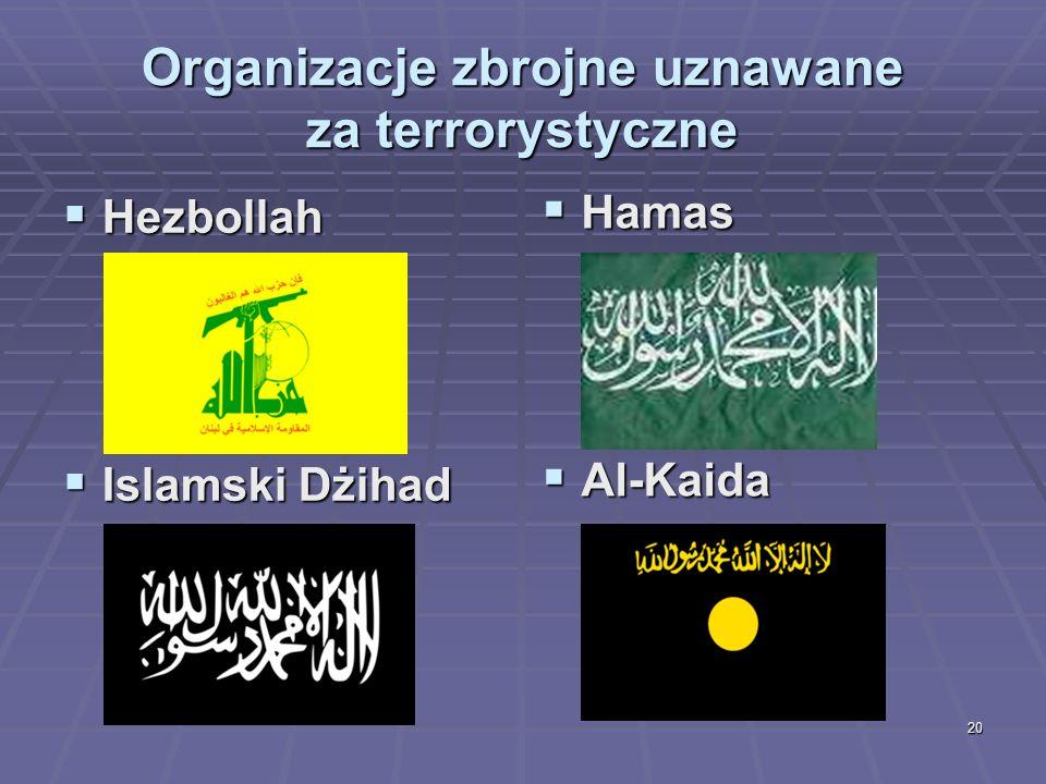 20 Organizacje zbrojne uznawane za terrorystyczne Hezbollah Hezbollah Islamski Dżihad Islamski Dżihad Hamas Hamas Al-Kaida Al-Kaida
