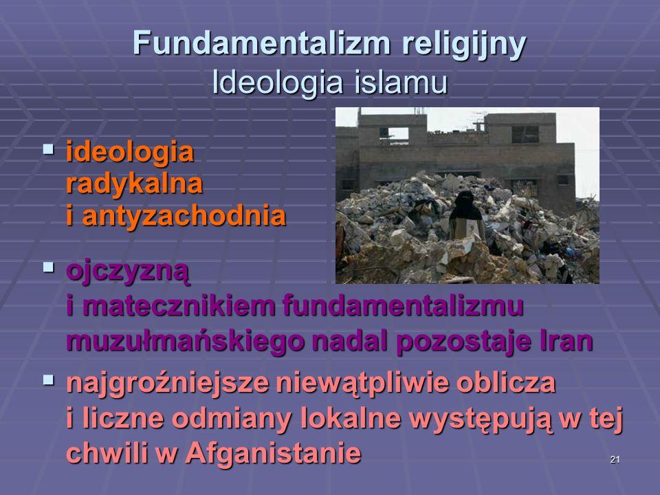 21 Fundamentalizm religijny Ideologia islamu ideologia radykalna i antyzachodnia ideologia radykalna i antyzachodnia ojczyzną i matecznikiem fundament