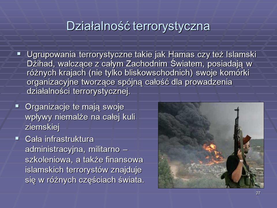 27 Działalność terrorystyczna Ugrupowania terrorystyczne takie jak Hamas czy też Islamski Dżihad, walczące z całym Zachodnim Światem, posiadają w różn