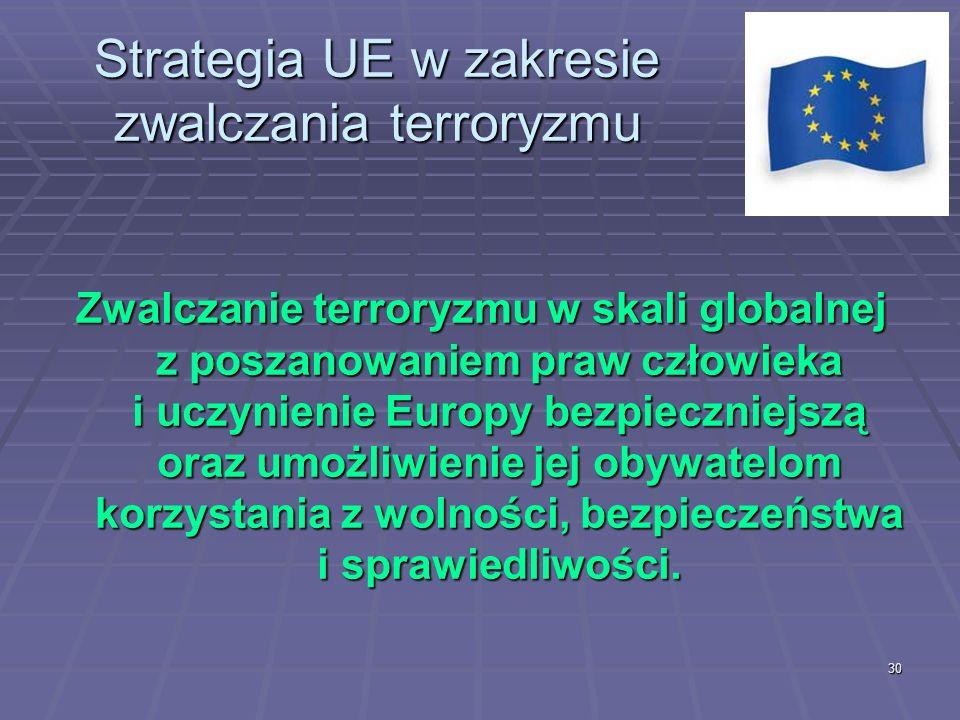 30 Strategia UE w zakresie zwalczania terroryzmu Zwalczanie terroryzmu w skali globalnej z poszanowaniem praw człowieka i uczynienie Europy bezpieczni