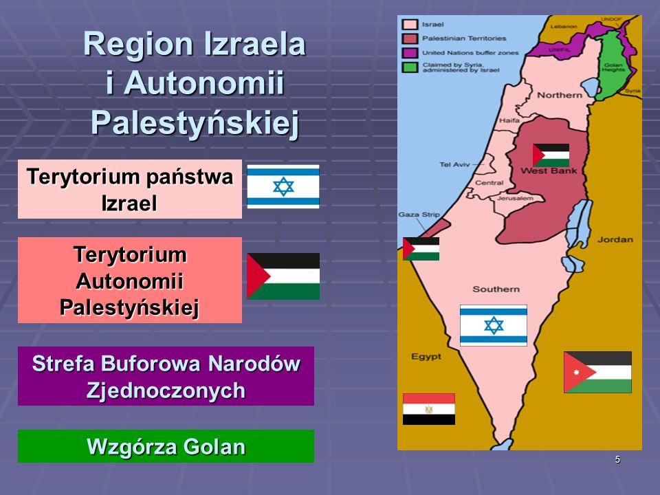 5 Region Izraela i Autonomii Palestyńskiej Terytorium państwa Izrael Terytorium Autonomii Palestyńskiej Strefa Buforowa Narodów Zjednoczonych Wzgórza