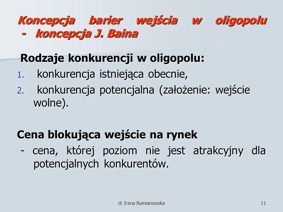 dr Irena Rumianowska11 Koncepcja barier wejścia w oligopolu - koncepcja J. Baina Rodzaje konkurencji w oligopolu: Rodzaje konkurencji w oligopolu: 1.