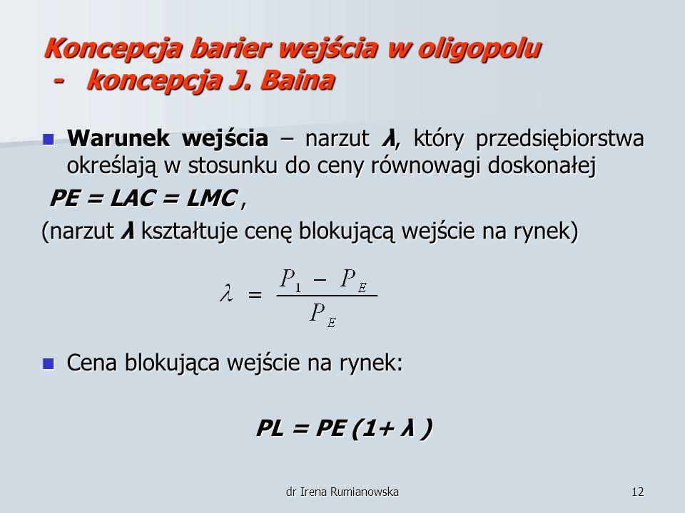 dr Irena Rumianowska12 Koncepcja barier wejścia w oligopolu - koncepcja J. Baina Warunek wejścia – narzut λ, który przedsiębiorstwa określają w stosun
