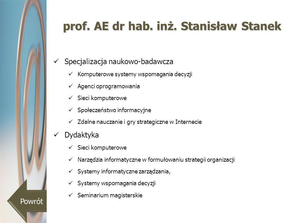 prof. AE dr hab. inż. Stanisław Stanek Specjalizacja naukowo-badawcza Komputerowe systemy wspomagania decyzji Agenci oprogramowania Sieci komputerowe