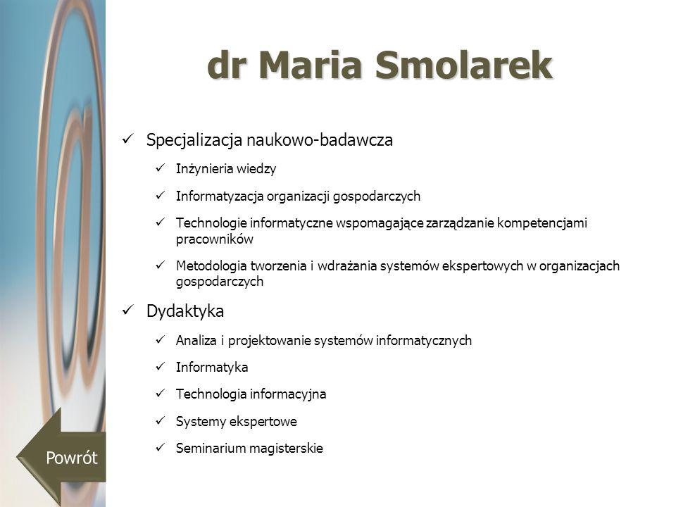 dr Maria Smolarek Specjalizacja naukowo-badawcza Inżynieria wiedzy Informatyzacja organizacji gospodarczych Technologie informatyczne wspomagające zar
