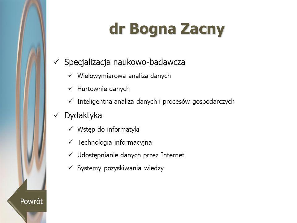 dr Bogna Zacny Specjalizacja naukowo-badawcza Wielowymiarowa analiza danych Hurtownie danych Inteligentna analiza danych i procesów gospodarczych Dyda
