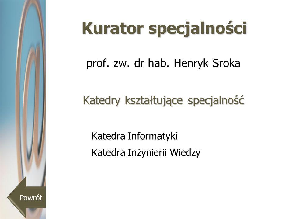 Kurator specjalności prof. zw. dr hab. Henryk Sroka Katedry kształtujące specjalność Katedra Informatyki Katedra Inżynierii Wiedzy
