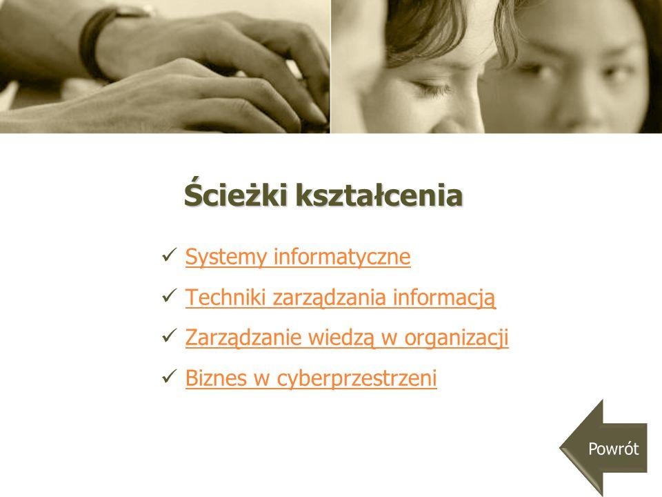 Ścieżka Systemy informatyczne wprowadza w tematykę związaną z: projektowaniem systemów informatycznych, projektowaniem systemów informatycznych, wdrażaniem systemów informatycznych, wdrażaniem systemów informatycznych, systemami informatycznymi zarządzania.