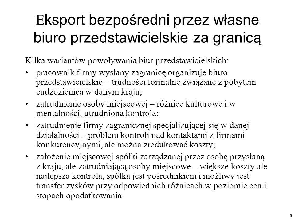 8 E ksport bezpośredni przez własne biuro przedstawicielskie za granicą Kilka wariantów powoływania biur przedstawicielskich: pracownik firmy wysłany