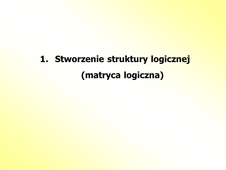 1.Stworzenie struktury logicznej (matryca logiczna)