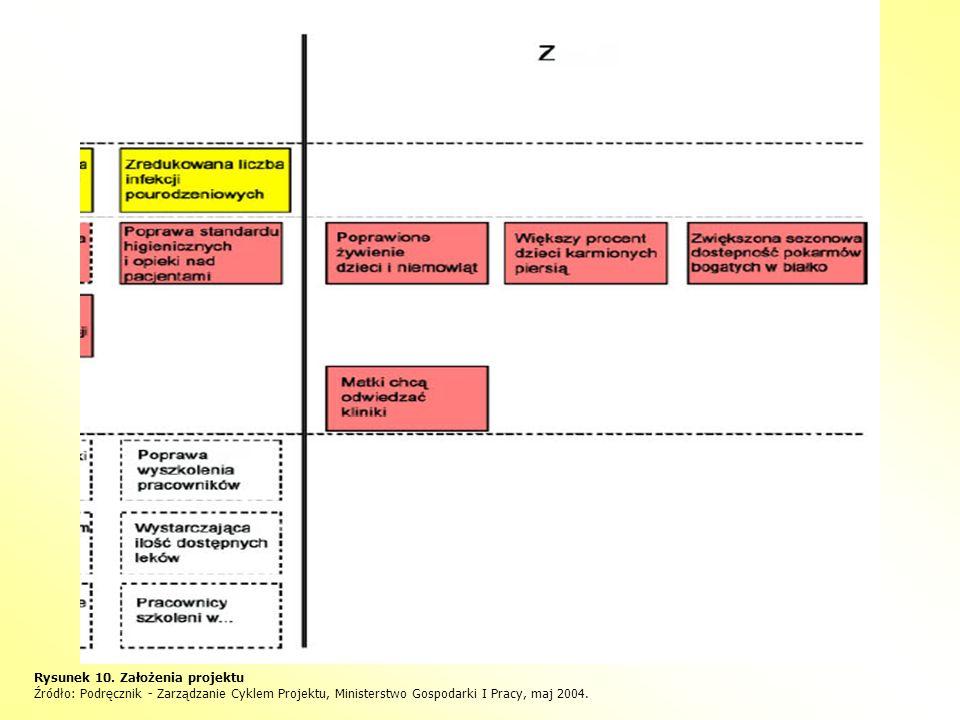 Rysunek 10. Założenia projektu Źródło: Podręcznik - Zarządzanie Cyklem Projektu, Ministerstwo Gospodarki I Pracy, maj 2004.