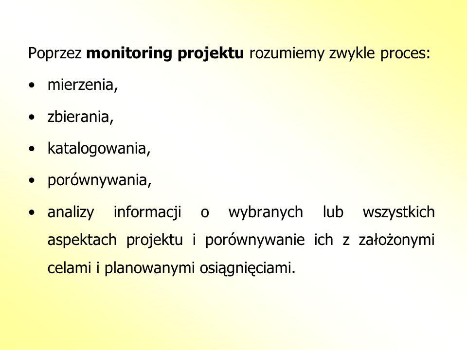 Poprzez monitoring projektu rozumiemy zwykle proces: mierzenia, zbierania, katalogowania, porównywania, analizy informacji o wybranych lub wszystkich