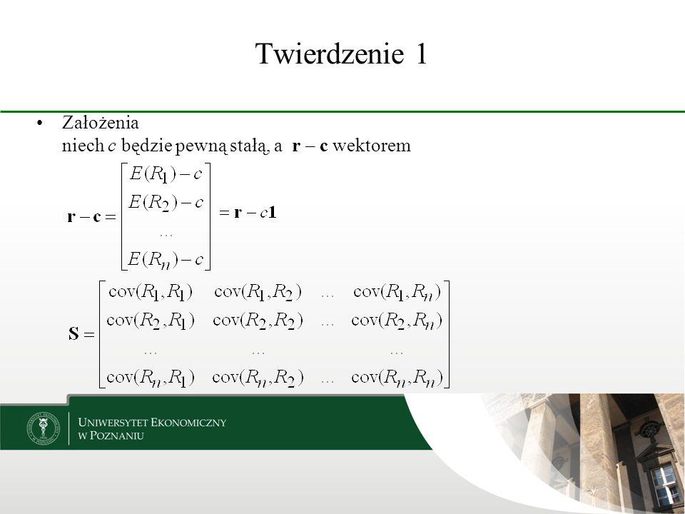 Twierdzenie 5 Załóżmy, że istnieje portfel y, że dla każdego x zachodzi relacja przy czym Portfel y jest brzegowy.