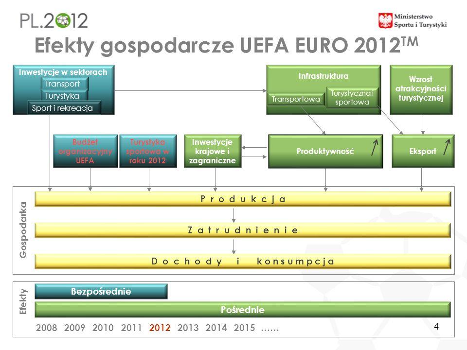 4 Efekty gospodarcze UEFA EURO 2012 TM Bezpośrednie Efekty Pośrednie 2012…… 2008 200920102011201320142015 P r o d u k c j a Z a t r u d n i e n i e D