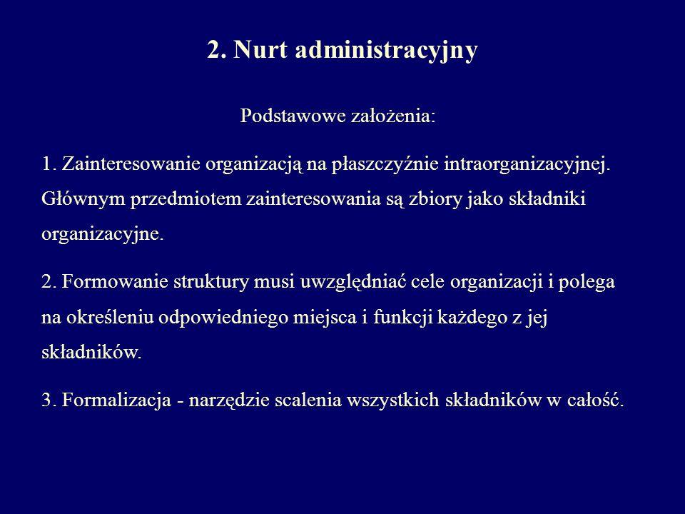 2. Nurt administracyjny Podstawowe założenia: 1. Zainteresowanie organizacją na płaszczyźnie intraorganizacyjnej. Głównym przedmiotem zainteresowania
