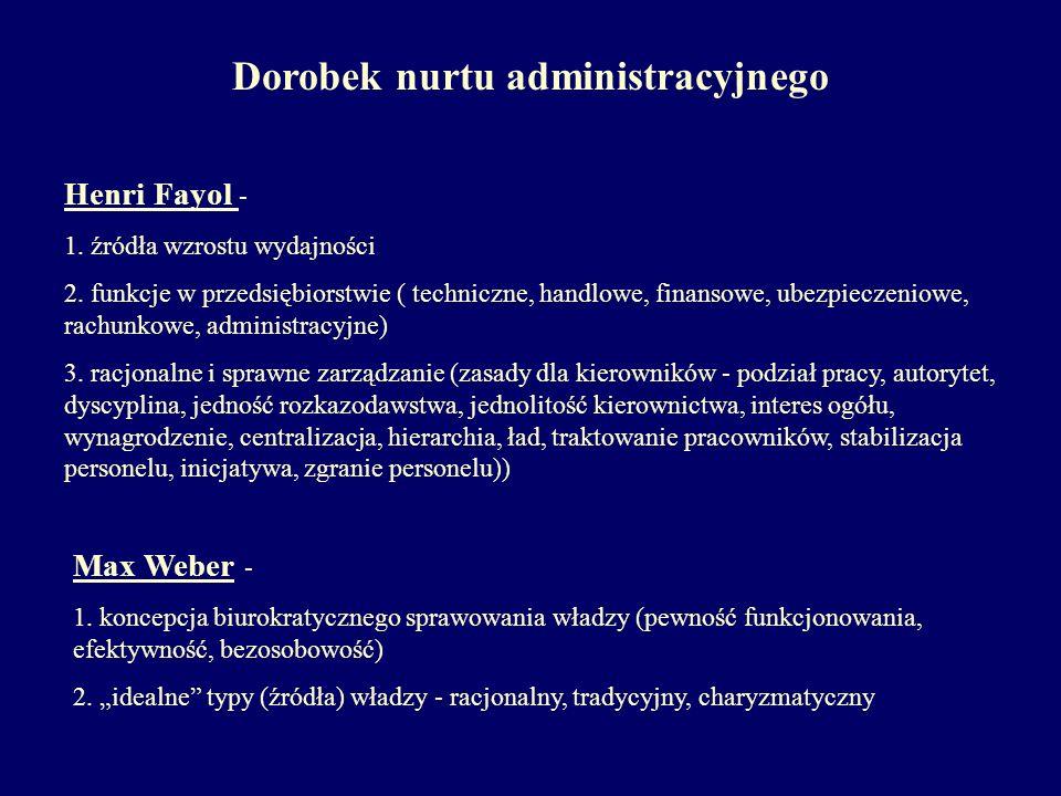 Dorobek nurtu administracyjnego Henri Fayol - 1. źródła wzrostu wydajności 2. funkcje w przedsiębiorstwie ( techniczne, handlowe, finansowe, ubezpiecz