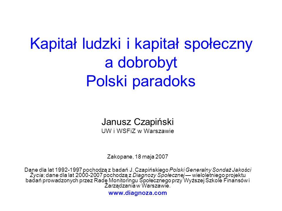 Kapitał ludzki i kapitał społeczny a dobrobyt Polski paradoks Janusz Czapiński UW i WSFiZ w Warszawie Zakopane, 18 maja 2007 Dane dla lat 1992-1997 po