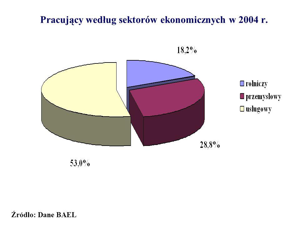 Pracujący według sektorów ekonomicznych w 2004 r. Źródło: Dane BAEL