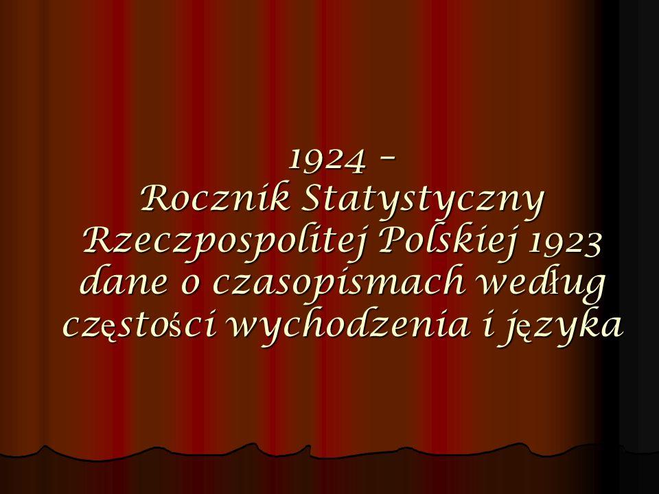 1924 – Rocznik Statystyczny Rzeczpospolitej Polskiej 1923 dane o czasopismach wed ł ug cz ę sto ś ci wychodzenia i j ę zyka