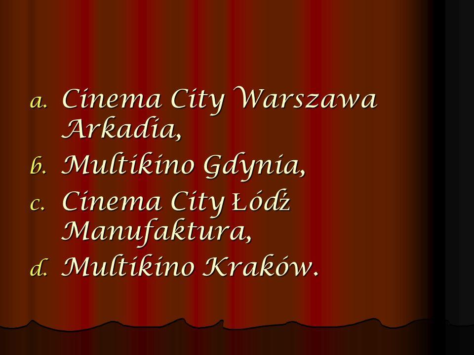 a. Cinema City Warszawa Arkadia, b. Multikino Gdynia, c. Cinema City Ł ód ź Manufaktura, d. Multikino Kraków.