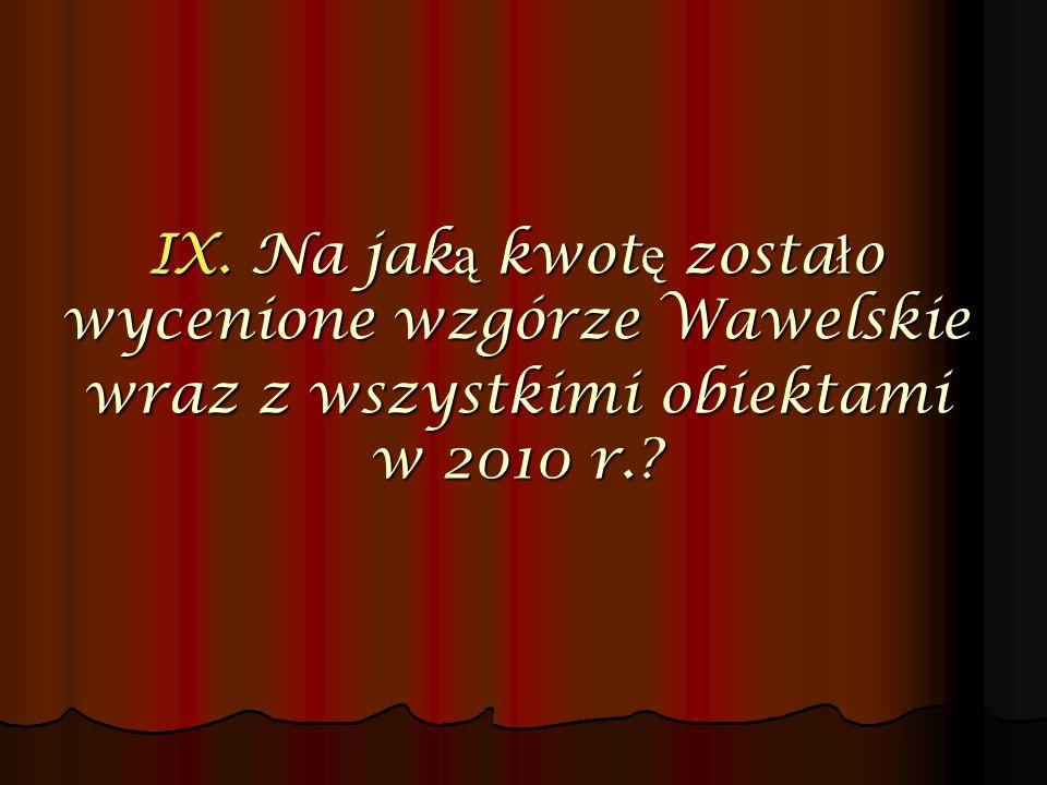 IX. Na jak ą kwot ę zosta ł o wycenione wzgórze Wawelskie wraz z wszystkimi obiektami w 2010 r.?