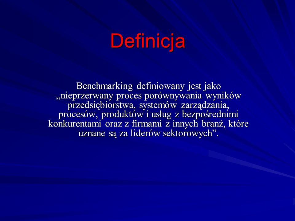 Definicja Benchmarking definiowany jest jako nieprzerwany proces porównywania wyników przedsiębiorstwa, systemów zarządzania, procesów, produktów i us