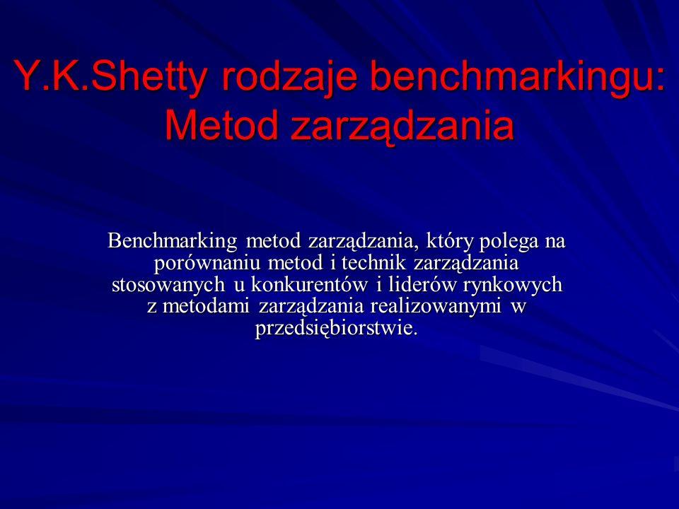 Y.K.Shetty rodzaje benchmarkingu: Metod zarządzania Benchmarking metod zarządzania, który polega na porównaniu metod i technik zarządzania stosowanych