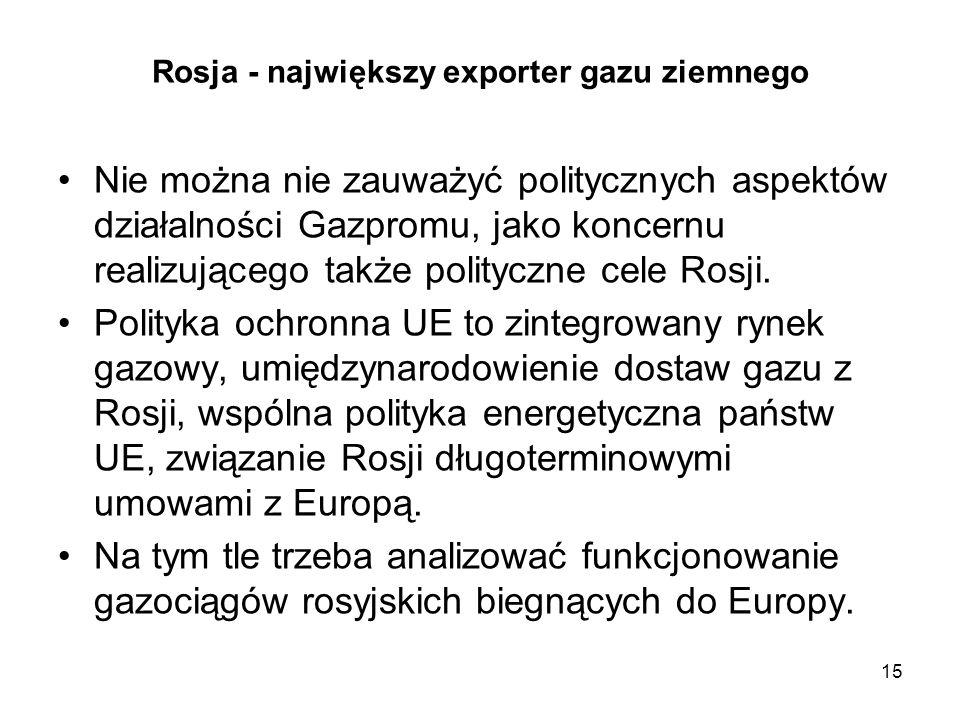 15 Rosja - największy exporter gazu ziemnego Nie można nie zauważyć politycznych aspektów działalności Gazpromu, jako koncernu realizującego także pol