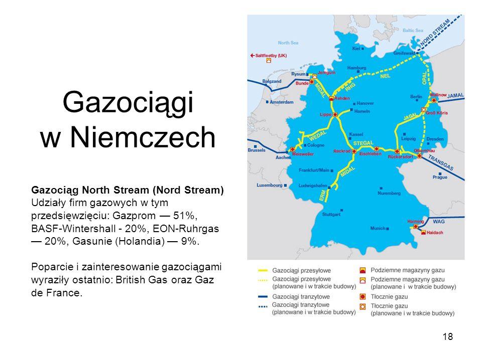 18 Gazociągi w Niemczech Gazociąg North Stream (Nord Stream) Udziały firm gazowych w tym przedsięwzięciu: Gazprom 51%, BASF-Wintershall - 20%, EON-Ruh