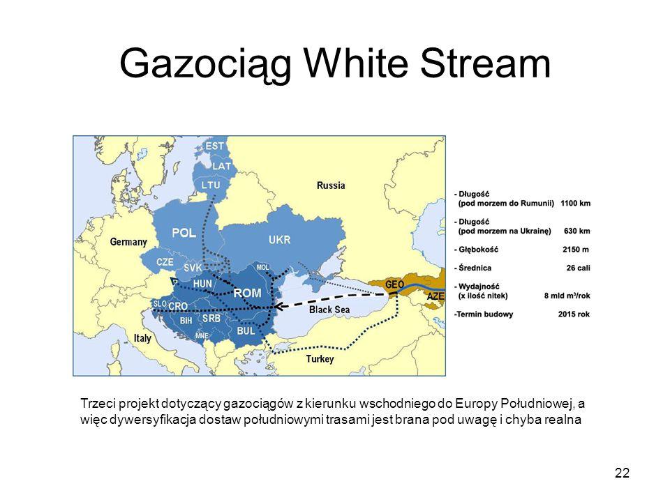 22 Gazociąg White Stream Trzeci projekt dotyczący gazociągów z kierunku wschodniego do Europy Południowej, a więc dywersyfikacja dostaw południowymi t