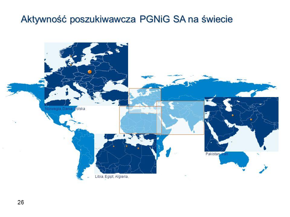 26 Norwegia, Dania, Polska Libia, Egipt, Algieria, Aktywność poszukiwawcza PGNiG SA na świecie Aktywność poszukiwawcza PGNiG SA na świecie Pakistan, I