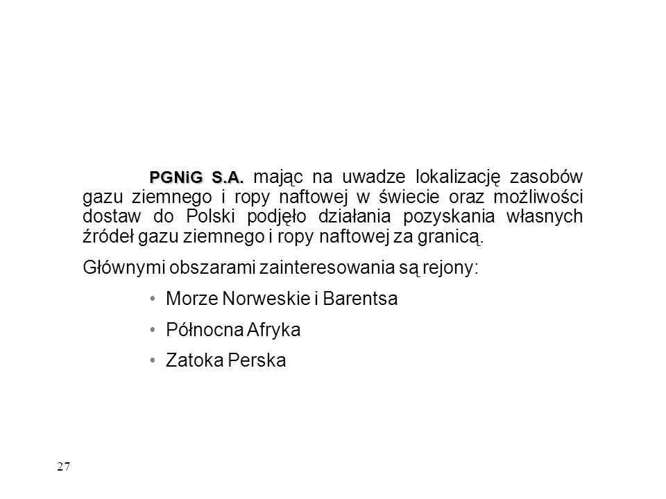 27 PGNiG S.A. PGNiG S.A. mając na uwadze lokalizację zasobów gazu ziemnego i ropy naftowej w świecie oraz możliwości dostaw do Polski podjęło działani